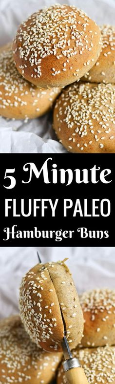 Extra fluffy and easy to make paleo hamburger buns will leave you in awe! Grain free. Paleo. Yeast free. Nut free. Ready in 5 minutes!