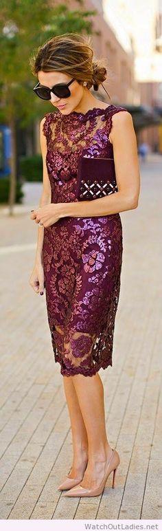 Burgundy sequins lace dress