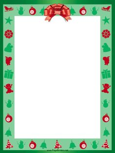 Holiday ribbons, ornaments, flowers and presents decorate a green background in this free, printable Christmas border. Free to download and print.