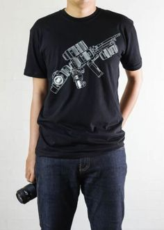 Best & Cool Photography Tactical Geek Tshirt - Camera Canon / Nikon Rifle