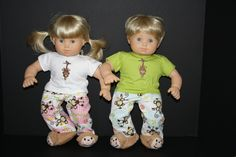 """American Girl Bitty Baby Twin 15"""" Doll Girl and Boy Twin Monkey Pajamas and Slippers. $35.00, via Etsy."""
