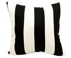Striped 20x20 Outdoor Pillow, Black | Get the Look | One Kings Lane