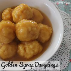 Thermomix Golden Syrup Dumplings – The Road to Loving My Thermo Mixer Just Desserts, Delicious Desserts, Dessert Recipes, Yummy Food, Dessert Cups, Gourmet Recipes, Golden Syrup Dumplings, Donuts, Bellini Recipe