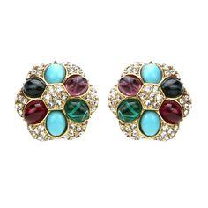 Byzantine Pearl Crystal Clip On Earrings