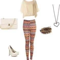 The tribal leggings are perfect for a girls' night out! Boho Chic Look