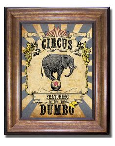 Dumbo - World Famous Circus - Vintage Style Disney Print - Available in Multiple Sizes 5x7, 8x10, 11x14, 16x20, 18x24, 20x24, 24x36
