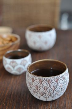-Japanese Pottery Tea Cup Yet again, perfectly finished and shaped tea cups. The patterns found in these tea cups are made with great detail.