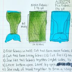"""""""Mermaid Blanket! This is how all my #sewing tutorials start... An idea sketch and step by step instructions. Then I see what I can cut out to simplify the…"""""""