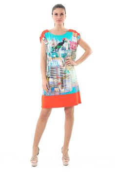 Turn heads as you step out in this striking allover print with block colour borders. Designed by Conquista in a sumptuously silky fabric, this dress will add a Colour Block, Color Blocking, Cocoon Dress, Colorblock Dress, Cool Style, That Look, Celebrities, Sexy, Womens Fashion