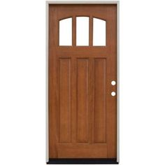 Steves & Sons 36 in. x 80 in. Craftsman 3 Lite Arch Stained Mahogany Wood Prehung Front Door at The Home Depot - Mobile Craftsman Style Doors, Craftsman Kitchen, Cottage Front Doors, Brick Molding, Wood Entry Doors, Exterior Front Doors, Exterior Paint, Garage Doors, Wood Glass