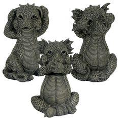 Garden Dragon Set of Three See No Evil Hear No Evil Speak No Evil 213