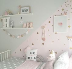 Add a touch of fun to your walls with Gold Dot decals! has one - Baby girl room - Kinderzimmer Baby Bedroom, Baby Room Decor, Girls Bedroom, Bedroom Furniture, Bedroom Decor, Bedroom Ideas, Cool Teen Bedrooms, Girl Bedroom Designs, Toddler Rooms