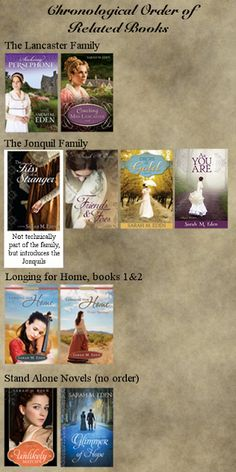 Sarah M. Eden: Sarah's Bookshelf...for every time I reread her books; I can never remember the order!