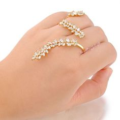 Adjustable Two Finger Ring Marquise&Round Zircon Cluster Yellow Copper Gift R993 #Bearfamilybirth #Cocktail