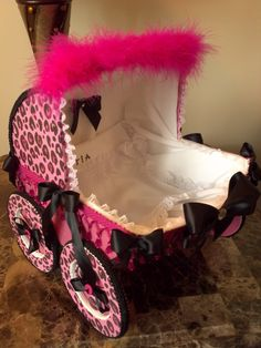 14 Inch Pink And Black Leopard / Cheetah Baby Carriage Centerpiece / Baby Shower Centerpiece.
