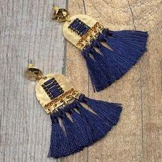 Jewelry | Navy Blue Tassel Gold Hammered Dangle Earrings | Poshmark Boho Earrings, Statement Earrings, Tassel Necklace, Blue Gold, Navy Blue, Women Jewelry, Fashion Jewelry, Boho Chic, Tassels