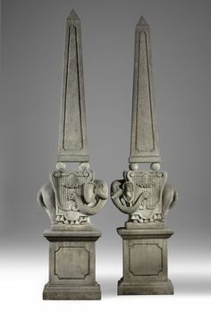 A pair of impressive Italian sculpted limestone garden obelisks , century, after Gian Lorenzo Bernini, tapered and supported on the backs of elephants above rectangular section panelled plinths - Dim: high overall, the plinths wide Gian Lorenzo Bernini, Salvador Dali, Grand Tour, Decoration, Elephants, Garden Art, Crowns, Statues, Egyptian