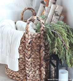 5781aaf41838941adae0c3de08585d6d After Chrismas winter decor: Birch logs, greens and throw in a basket