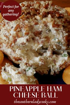Cheese ball with pineapple and ham that you can make for any event or occasion and you won't bring any back home. Delicious appetizer or snack anytime. Hawaiian Cheese Ball Recipe, Ham And Cheese Ball Recipe, Christmas Cheese Ball Recipe, Cheese Ball Recipes, Cheese Appetizers, Yummy Appetizers, Appetizer Recipes, Snack Recipes, Snacks