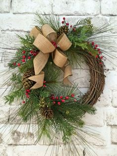 Winter Wreath, Christmas Wreath for Door, Christmas Decor, Holiday Wreath, Holiday Décor, Silk Wreath, Grapevine Wreath, Outdoor Wreath, Front Door Wreath, Burlap Bow, Red Berries, Artificial Evergreen Pine, Wreath on Etsy, by Adorabella Wreaths!