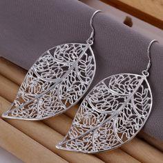 Elegant Fashion Jewelry Silver Plated Stud Dangle Earings Eardrop Skeleton Big Leaf www.essish.com