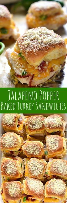 Jalapeño Popper Baked Turkey Sandwiches are a delicious pairing of two favorites!These Jalapeño Popper Baked Turkey Sandwiches are a delicious pairing of two favorites! Mini Sandwiches, Turkey Sandwiches, Tailgate Sandwiches, Steak Sandwiches, Crab Cakes, Fingerfood Recipes, Jalapeno Poppers Baked, Turkey Sliders, Beef Sliders