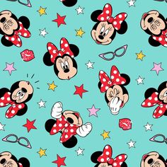 Disney Minnie Mouse Being Silly On Teal 100% Cotton Fabric By The Yard