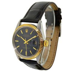 Vintage Rolex rare original black dial Datejust wrist watch in stainless steel and gold, circa This Swiss watch has original black dial Antique Watches, Vintage Watches, Swiss Watch, Vintage Rolex, Wrist Watches, Stainless Steel, The Originals, Antiques, Gold