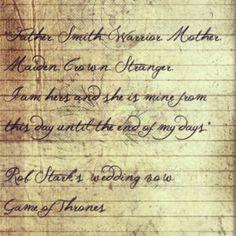 Rob Stark's wedding vow