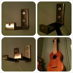 Reuse a couple of IKEA hooks as wall hangers for a guitar or ukulele. Use electrical tape to wrap where the instrument will rest. And for extra safety, (between the neck and hook end) connect the ends of the hooks with an elastic hair tie. Easy.