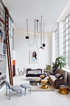 Love the hanging lights in this family room