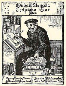 Albert Edelfeltin piirros Mikael Agricolasta. Ainuttakaan aikalaiskuvaa Agricolasta ei ole säilynyt.