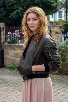 Holly Read from The Twins Wardrobe wears Zara khaki bomber jacket and midi pleated skirt