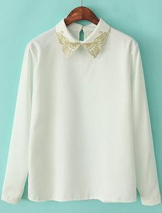 White Long Sleeve Embroidered Bufferfly Lapel Blouse US$25.57