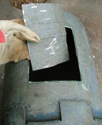 cut out fuel door out of gas bottle