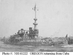USS Oregon returning from Cuba, 1898.