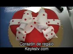 Tarta de corazón de regalo. Valentin heart cake - YouTube