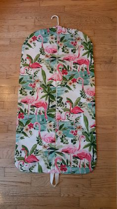 Flamingo Garment Bag, Hanging Garment Bag, Graduation Gift by CarryItWell on Etsy Rebecca Brown, Peg Bag, Etsy Cards, Natural Background, Jungle Print, Garment Bags, Looking For Someone, Pink Flamingos, Grosgrain Ribbon