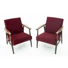 "Two maroon 300-190 ""Lisek"" armchairs from PRL, design H. Lis, Poland, 70s. 