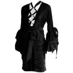 Preowned Heavenly Tom Ford Ysl Rive Gauche 02 Black Silk Blend Poet... ($990) ❤ liked on Polyvore featuring tops, blouses, black, ruched blouse, sheer sleeve blouse, long blouse, sheer blouses and long sleeve tops