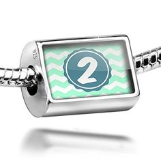 Sterling Silver Charm Monogram 2 Mint Green white Chevron  Bead Fit All Europe * Check this awesome product by going to the link at the image.
