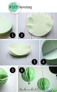Hochzeitsdekoration: Wabenbaelle selbermachen aus Papier | DIY