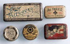 Lot 5 boites métal anciennes mercerie épingles vaseline dragées phono