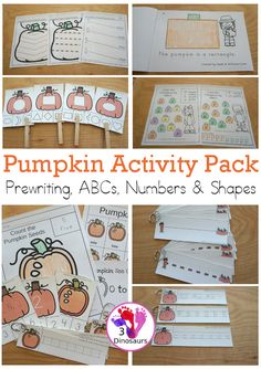 Pumpkin Activities Pack: Prewriting Shapes, ABCs & Numbers with no-prep pages, easy reader books, clip cards and tracing strips.- 3Dinosaurs.com #themedpack #3dinosaurs #pumpkinsforkids #prek #kindergarten #prewriting #numbersforkids #numbers #shapes #abcs Abc Tracing, Tracing Shapes, Autumn Activities For Kids, Preschool Learning Activities, Counting For Kids, Pumpkin Printable, Shapes For Kids, Easy Reader, Numbers For Kids