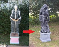 wie mit Silber Farbstoff eine gruselige Figur zu gestalten Halloween Deko selber machen You are in the right place about Cement powder Here we offer you the most beautiful pictures about the Cement fi Halloween Tags, Halloween 2017, Holidays Halloween, Scary Halloween, Halloween Crafts, Halloween Party, Halloween Supplies, Vintage Halloween, Happy Halloween
