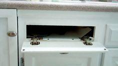 "New DIY ""hidden"" hot storage box for curling iron / hair dryer."