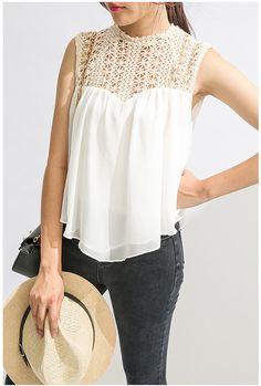 Women Knit Hollowed Seamless Chiffon Vest, Boho Top Blouse,  Asymmetric Hem