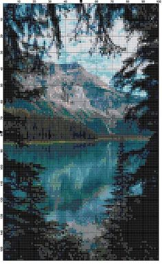 Cross Stitch Pattern Emerald Lake Yoho by theelegantstitchery