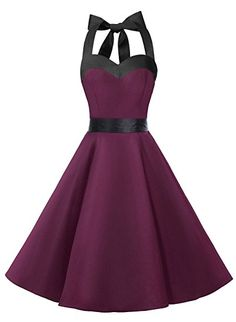 Dresstells Neckholder Rockabilly 50er Vintage Retro Kleid Petticoat Faltenrock Retro Kleider Style Hipster Vintage 90s 80s 70s 60s 50s Rockabilly Outfits Pin Up Cocktails Maxis: http://amzn.to/2s3MhOq
