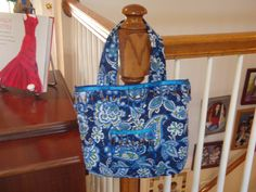 Small tote bag - sewn with double sided quilted fabric, embellished with beaded trim